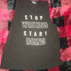 Stop wishing start doing distressed tank top